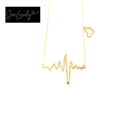 Heartbeat ketting goud-K049