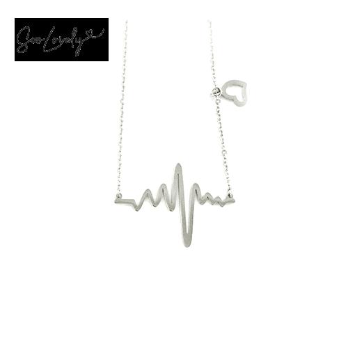 Heartbeat ketting zilver-K049