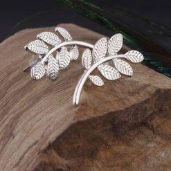 Oorbellen met blaadje zilver-O011