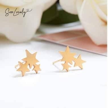 Oorbellen met sterretjes goud-TS019