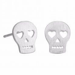 Skull oorbellen zilver-O002
