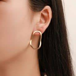 Deformed circle earrings