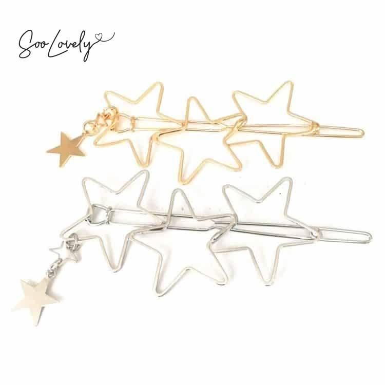 Haarspeld sterren-goud en zilver