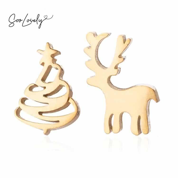 Kerstboom en rendier oorknopjes