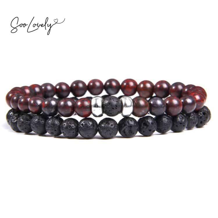 Lava armbanden set roodbruin-zwart
