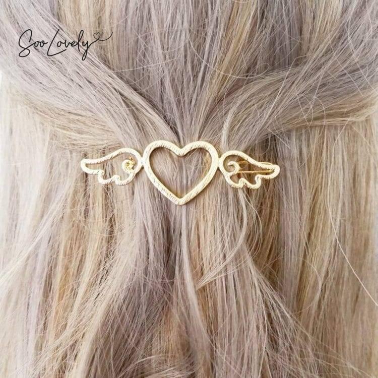 Haarspeld hart met vleugels