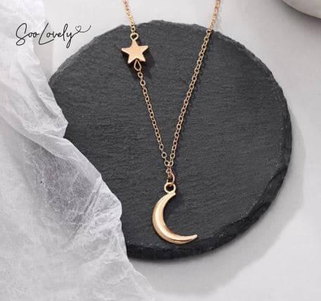 ketting met maan en ster goud