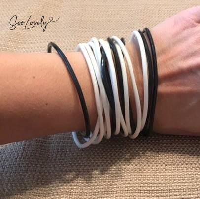 set van 5 witte armbandjes