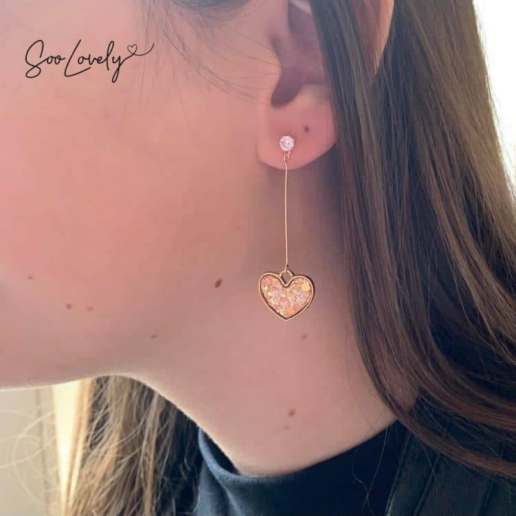 Hartje met confetti oorbellen